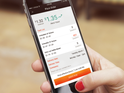 Business App - Order Page Design screen order gasoline enterprise ios apps business