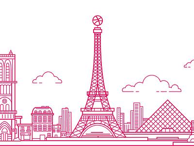 Vector City Skylines eiffel tower city free freebie svg lineart vector paris