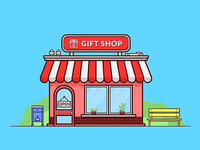 Gift Shop illustration house building mailbox bench vector store shop gift shop