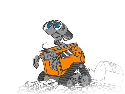 WALL-E postapocalypse illustration vector machine robot walle e wall wall-e