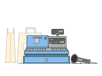 Cash Register till cashbox purchase buy check shop vector machine register cash