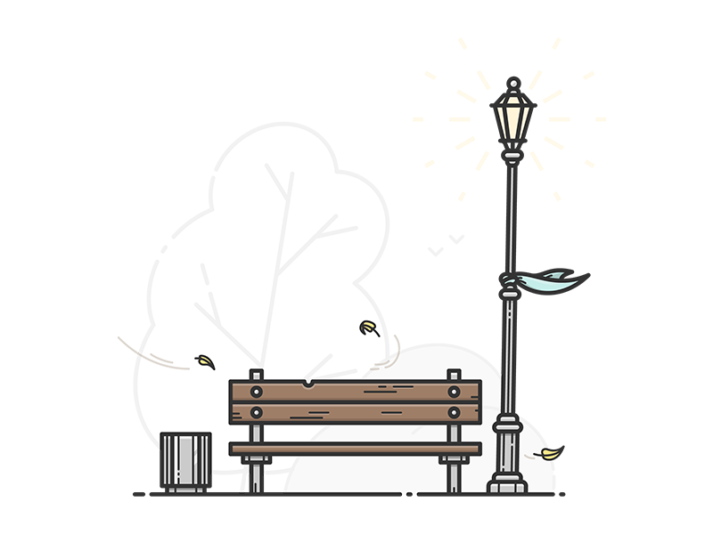 Bench icon illustrator illustration vector autumn tree wind bin light streetlight settle bench