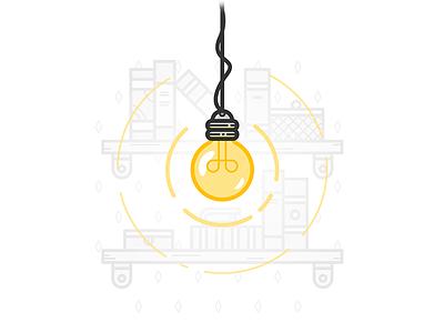 Light Bulb icon illustrator illustration vector shine bookcase shelves books book lightbulb bulb light