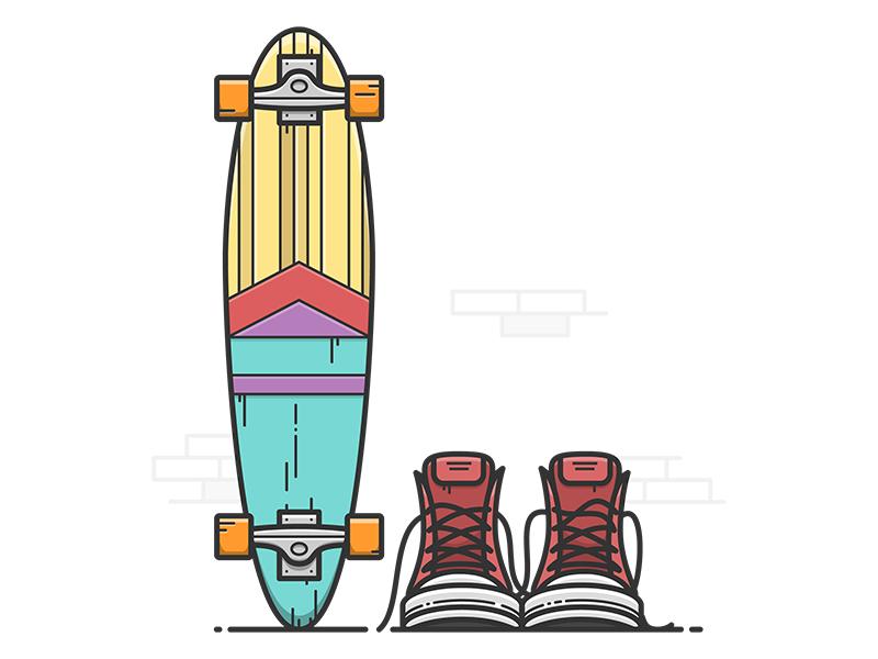 Longboard graphics illustrator illustration vector shoes boots longboard skateboard skate
