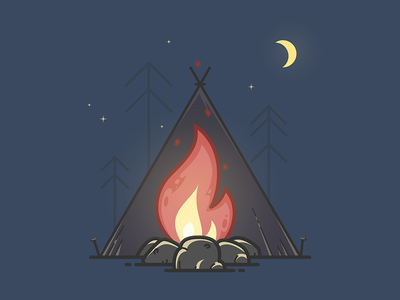 Campfire illustrator illustration vector trip journey wood forest camping fire camp campfire