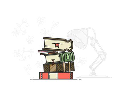 Stack of books icon shelves shelf illustrator desktop desk lamp table vector illustration stack books