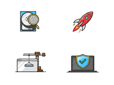 Icon set illustrator disk crane magnifier rocket protection shield computer illustration vector set icon