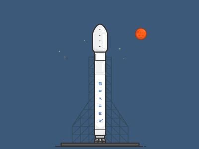 Falcon 9 icon elon musk illustrator illustration vector vehicle launch rocket spacex falcon 9