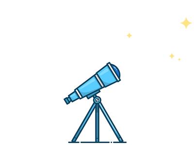 Telescope icon illustrator illustration vector sky stars magnifier loupe scope glass telescope
