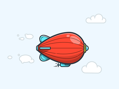 RED ZEPPELIN icon fly clouds plane dirigible aerostat  aircraft illustrator illustration vector airship zeppelin