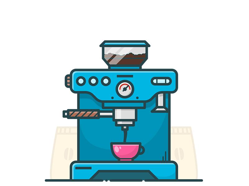 COFFEE MACHINE illustrator illustration icon vector pot brew cup machine coffee
