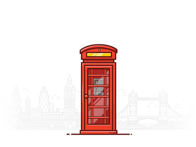 Phone Booth icon vector telephone red booth phone minimal london lineart illustration flat 2d