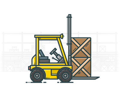 Forklift storage store illustrator lift illustration icon warehouse box loading machine loader forklift