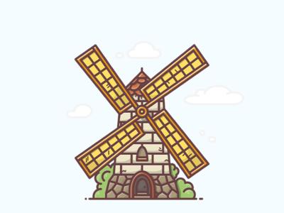 Windmill harvest wheat farm field illustration icon country generator power mill wind windmill