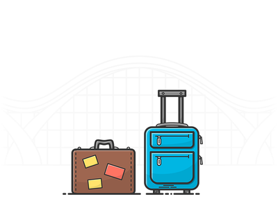 Luggage object lineart illustration icon travel airport baggage luggage bag case