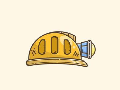 Miner Hat search vector illustrator illustration icon light research gold mine helmet hat miner