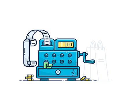 Cash Register payment vector order shop illustration icon checkout receipt e-commerce register money cash