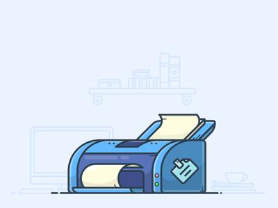 Desk Printer desktop desk illustrator vector illustration icon sticker papers paper scaner print printer