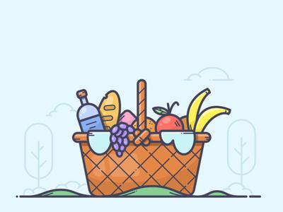 Picnic illustrator illustration icon vector rest grape apple banana basket summer picnic