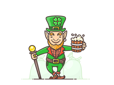 St. Patrick's Day green hat gnome leprechaun clover irish gold beer day patricks saint st.