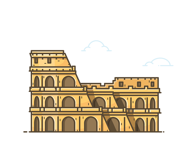 Colosseum lineart sticker illustration icon vector monument building rome roma coliseum italy colosseum