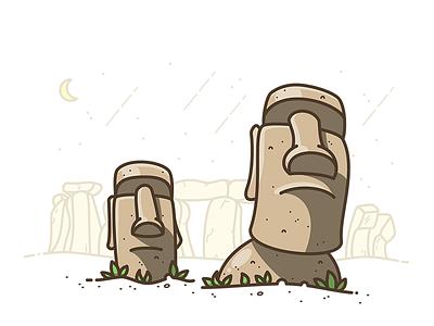 Stone Heads rock monument building island easter illustrator illustration icon vector stonehenge head stone