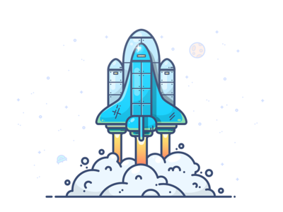 TO THE STARS outline planet nasa illustration icon ufo rocket moon star spaceship shuttle space