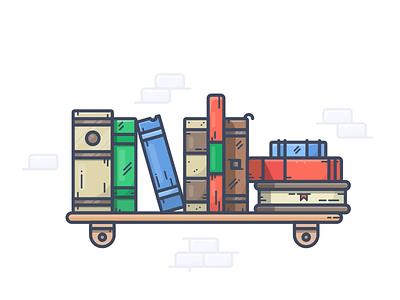 Bookshelf home illustrator outline illustration icon bookshelf shelf books book
