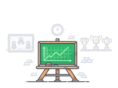 Blackboard illustration icon vector clock graph analytics goblet medal award chalk board blackboard