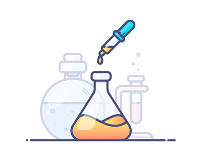 Chemistry gradient outlane illustration icon vector potion tube flask bottle chemicals chemistry