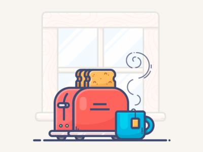 Toaster vector toaster tea mug morning kitchen illustration icon cup coffee breakfast bread