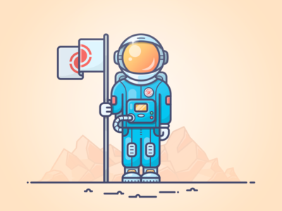 Man on a mission discovery illustration planet mission cosmonaut flag mars spaceman space