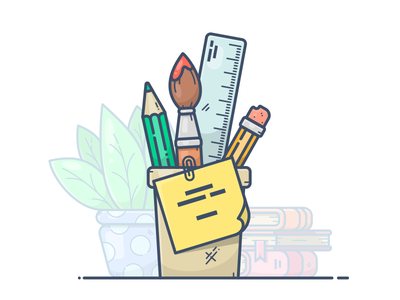 Drawing tools illustration icon vector plant books drawing draw note ruler tassel paint pencil