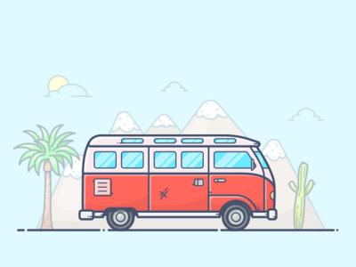 California Dreamin' outline icon illustration vector summer usa california car van volkswagen vw bus