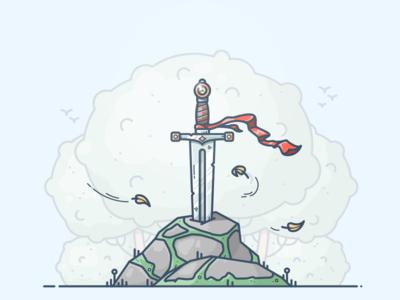 Excalibur outline vector illustration icon glaive steel knight fantasy excalibur stone blade sword
