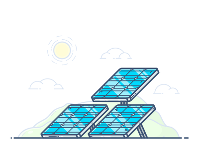 Solar Panels outline illustration icon vector power electricity sustainable sun energy panel plate solar