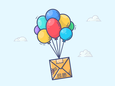 Special Delivery shipping courier illustration icon vector letter mail parcel email balloons box delivery