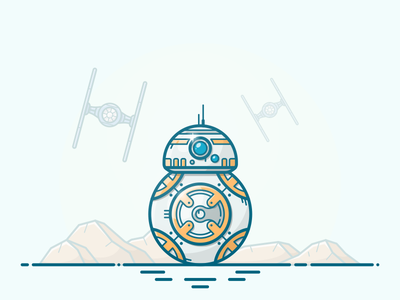 BB8 vector wars star robot r2-d2 r2d2 illustration icon episode droid space bb8