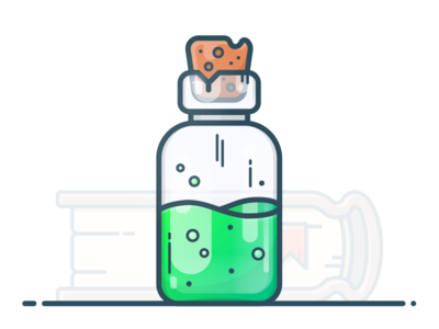 Health Potion gradient green chemistry magic icon illustration game book bottle flask potion health