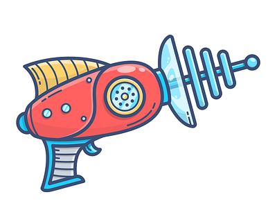 Blaster cyberpunk cyber ufo space illustration vector icon asset pistol gun weapon blaster