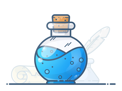 Mana Potion scroll fantasy illustration icon vector gradient blue bottle flask potion game mana