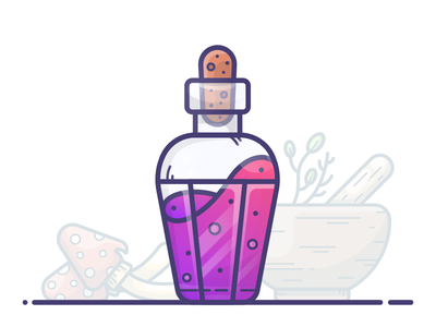 Herbal Potion vector mushroom potion mana illustration icon gradient game flask fantasy bottle purple