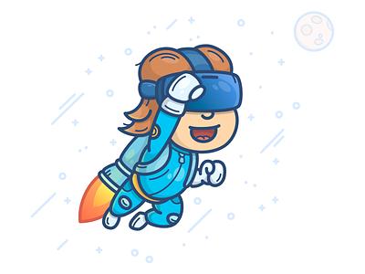 VR Boy jetpack rocket illustration icon stars character space man boy reality virtual vr