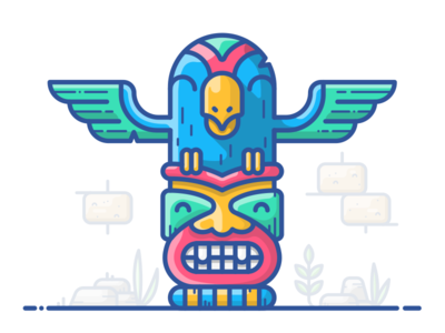 Totem of Freedom outline illustration icon vector wings character face bird maya sign figure totem
