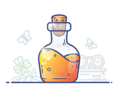 Potion of Luck book vector potion butterfly magic illustration icon orange gradient flask chemistry chemist