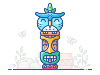 Totem Of Life butterfly vector totem sign outline maya illustration icon figure face character bird