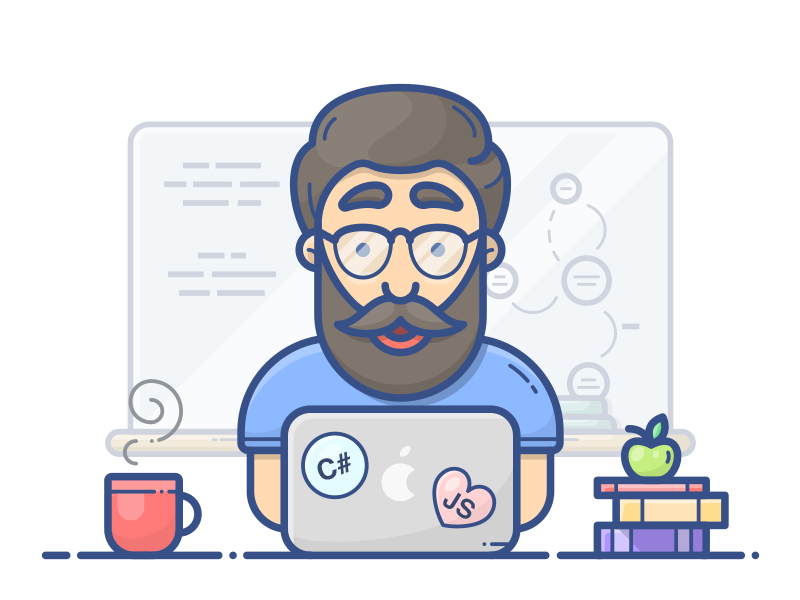 Programmer coffee vector illustration icon man character books macbook apple coder programmer