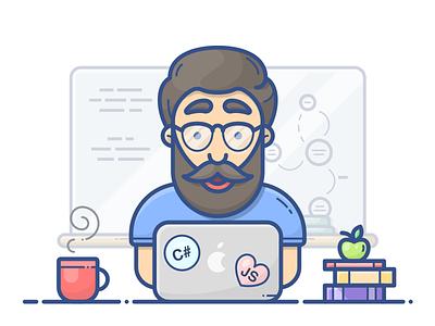 Programmer coffee vector illustration icon man character books macbook apple coder programmer