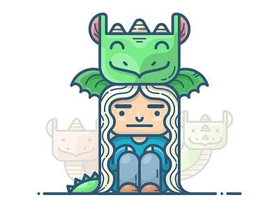 Daenerys Targaryen fantasy vector icon illustration got game of thrones woman character girl dragon targaryen daenerys