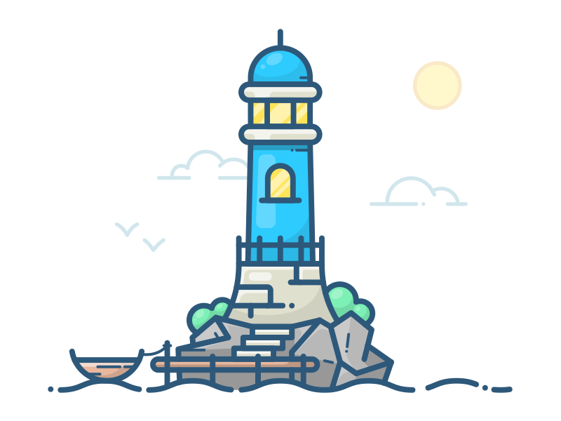 Lighthouse water vector sea ocean mark logo lighthouse illustration icon building ship boat